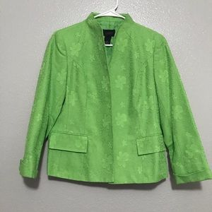 Investments Petite Lime Green Floral Print Blazer